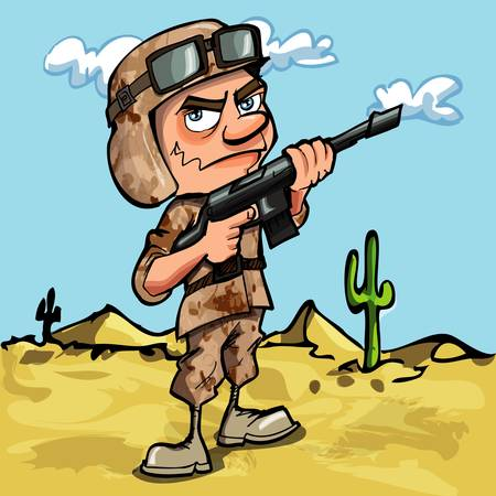 battle: Cartoon soldier in the desert. He has a automatic rifle