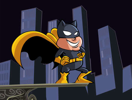 Cute cartoon batman masked superheroin the city Vector