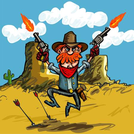 old west: Cartoon cowboy jumping with his six guns in the desert