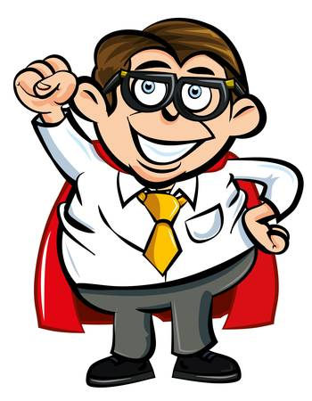 Cartoon Superhero office nerd punching the air Vector