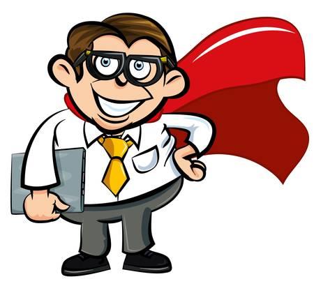 cartoon superhero: Cartoon Superhero office nerd with cape and laptop