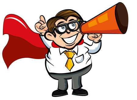 Cartoon Superhero office nerd with cape and megaphone