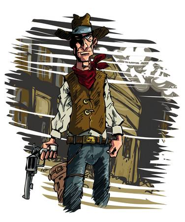 Mean illustration of a Cowboy gunslinger draws his six shooter Vector