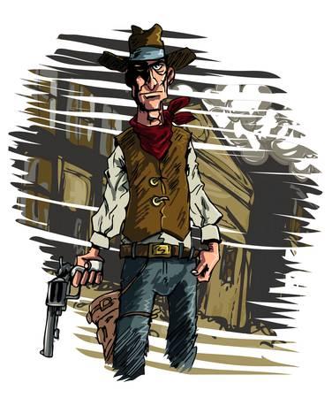gunfighter: Mean illustration of a Cowboy gunslinger draws his six shooter