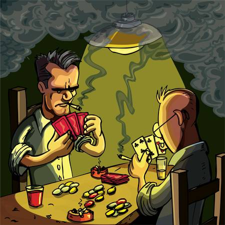 Cartoon of two men playing cards in a dark smoke filled room Vector