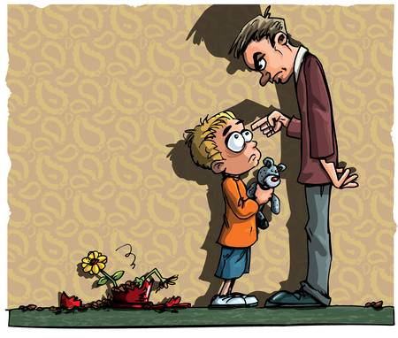 punish: Cartoon of little boy being told off by his father Illustration