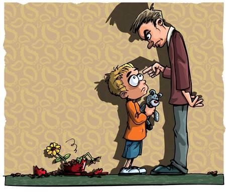 Cartoon van kleine jongen wordt verteld uitgeschakeld door zijn vader Vector Illustratie