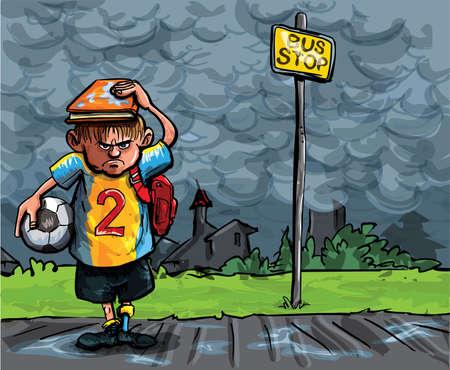 schoolbus: Cartoon of schoolboy caught in the rain. He is waiting fo the schoolbus
