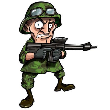 cartoon soldat: Cartoon Soldat isoliert auf weiss. Er hat Jujngle Camoflage auf