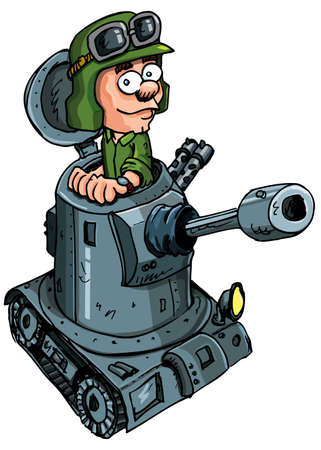 Soldado de dibujos animados en un peque�o tanque con un ca��n Foto de archivo - 9100630