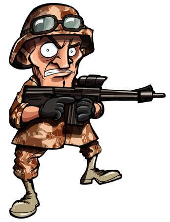 cartoon soldat: Cartoon-Soldat, isoliert auf weiss. Er hat Wüste Camoflage auf Lizenzfreie Bilder