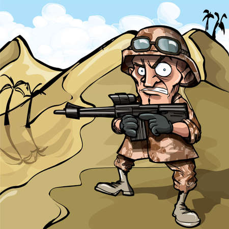 military watch: Cartoon soldier in the desert. He has a automatic rifle