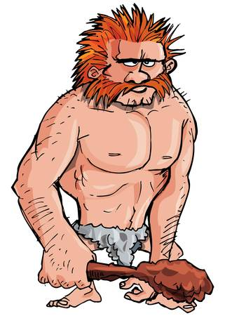 caveman: Cartoon caveman with a club isolated on white