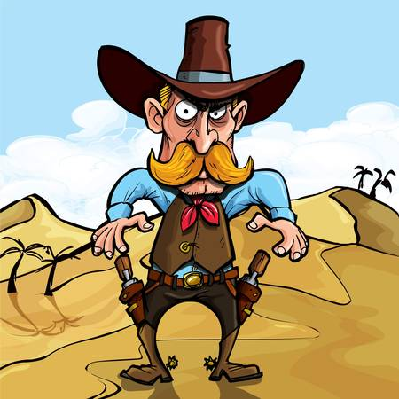 western cowboy: Cartoon cowboy ready to draw his guns in a gunfight. He is in the desert