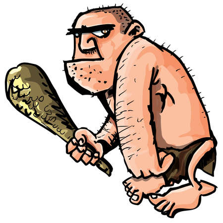 Cartoon caveman with a club isolated on white photo