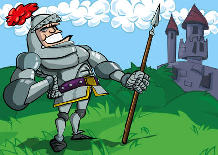 Cartoon knight in armour with a spear. He is in a fiels in front of a castle photo