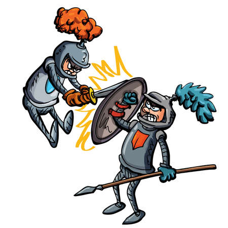 chain armour: Two cartoon knights fighting using swords and spears