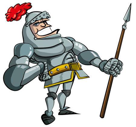 cartoon warrior: Cavaliere in armatura con una lancia dei cartoni animati. Egli � isolated on white Archivio Fotografico