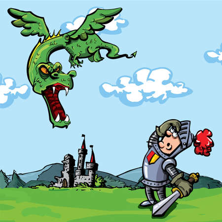 dragon cartoon: Cartoon knight attacked by a dragon. A castle is in the distance