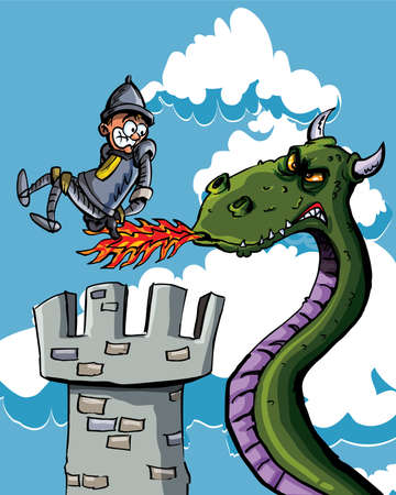 dragon cartoon: Cartoon knight burnt on his bum by a dragon. He is on a castle tower with blue sky behind him Stock Photo