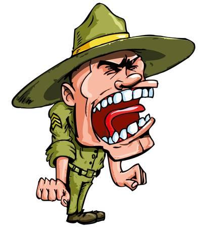 soldado: Sargento de taladro de dibujos animados enojado gritando en ira Vectores