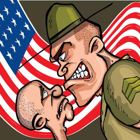 cartoon soldat: Angry Cartoon Drill Sergeant schreien auf Kadett