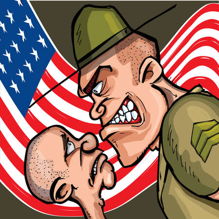 angry cartoon: Angry cartoon drill sergeant screaming at a cadet