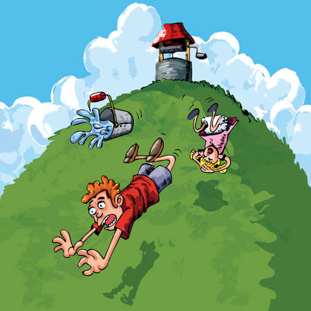 fell: Jack and Jill went up the hill to fetch a pail of water. Jack fell down and broke his crown, and Jill came tumbling after. Illustration