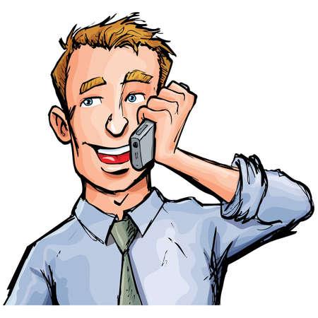 omini bianchi: Lavoratore di ufficio di cartone animato sul telefono cellulare. Sorride