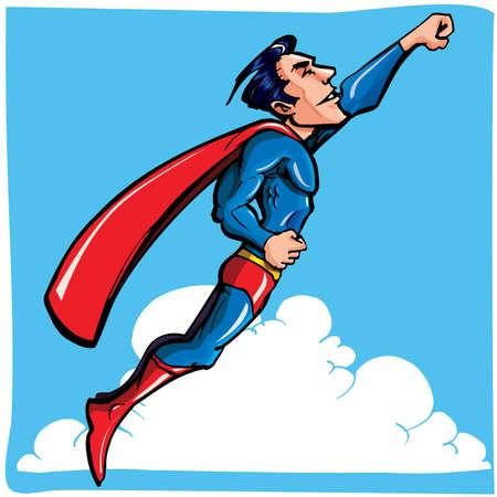 flying man: Cartoon Superman flying through a blue sky