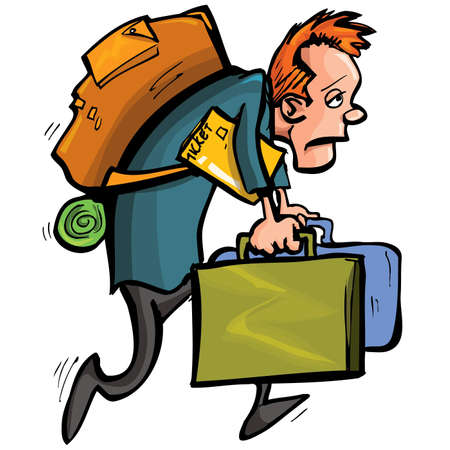 upset man: Cartoon man is unhappy with travelling. He is bent under all the luggage he must bear
