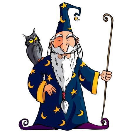 Cartoon Wizard meteenbetrouwbaarheid personeel. Hij heeft een uil op zijn schouder Vector Illustratie