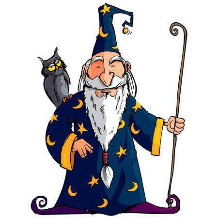 sorcerer: Cartoon Wizard witha staff. He has an owl on his shoulder Illustration