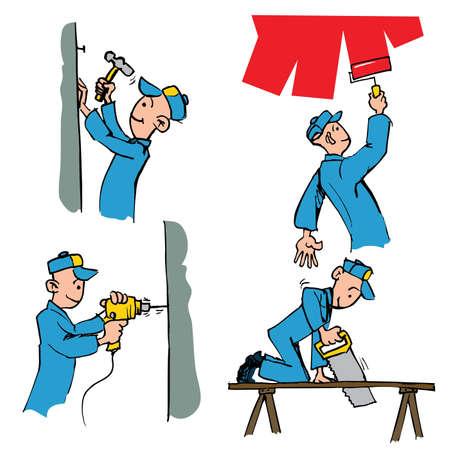 Conjunto de dibujos animados de operarios haciendo diferentes tareas de bricolaje como pintura, perforación, carpintería, etc.