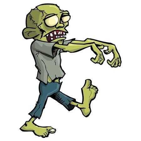 Zombie de dibujos animados aislado en blanco. Él se tambalea con sus brazos fuera extendida