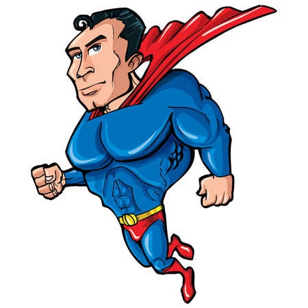 Cartoon Superman with huge chest. He is islotaed on white Stock Vector - 9155006