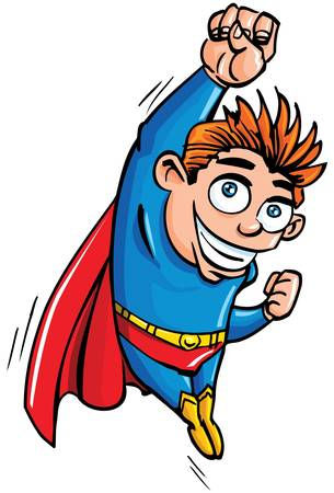 Cute cartoon Superboy flying up. He is isloated on white