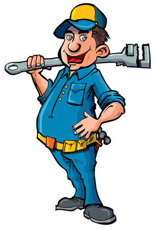 plumbers: Cartoon plumber witha wrench. He is smiling