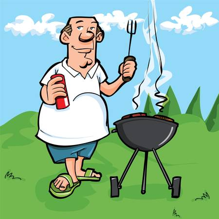 Cartoon of man having a BBQ. He is outside on the grass with blue sky behind him