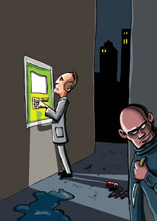 mugging: Cartoon of a crime that is about to happen. A man at an ATM machine is being watched by a crimanal with a knife