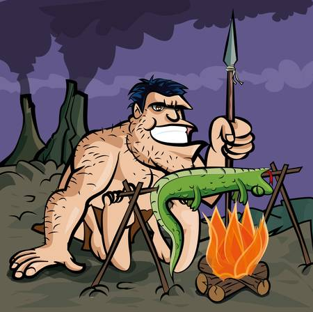 caveman cartoon: Caveman cooking a lizard over an open fire. Volcanows in the distance