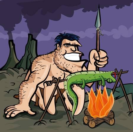 caveman: Cavern�cola cocinar un lagarto sobre un fuego abierto. Volcanows en la distancia