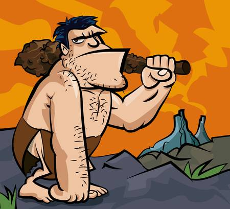 Cavman with big club in prehistoric setting. Volcanoes in the distance Vector