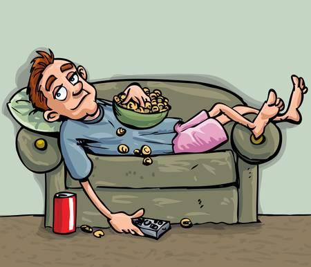 Cartoon tiener ontspannen op de sofa. Hij is het eten van een snack en heeft een handige frisdrank