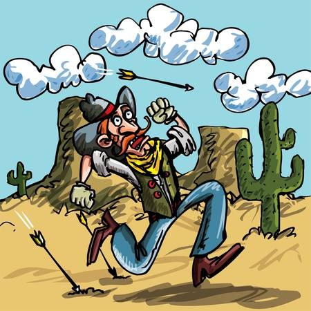 there: Cartoon cowboy running from indian arrows. He is in the desert there is a cactus behind him Illustration