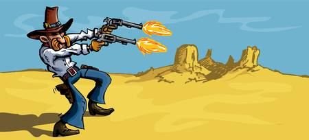 Cartoon cowboy in the desert firing his sx guns. There is a blue sky behind him
