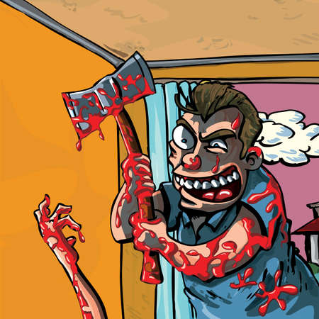 madman: A cartoon of a bloody madman with axe
