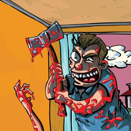 madman: Una caricatura de un loco con el hacha sangrienta