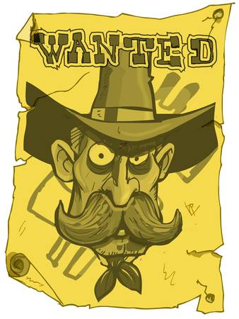 wrangler: Cartoon cowboy wanted poster from the old west