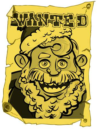 A wanted Santa poster in the style of the old west Vector
